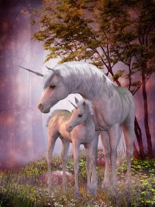 A white unicorn doe and fawn spend their peaceful time together in the magical forest.